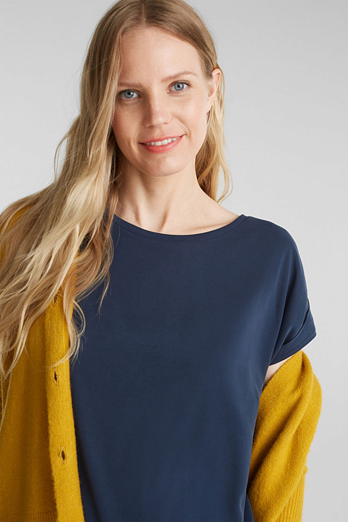 T-shirt with draped sleeves, NAVY, detail image number 5