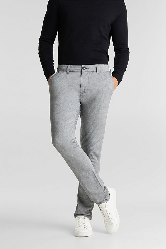 Stretch cotton chinos, LIGHT GREY, detail image number 0