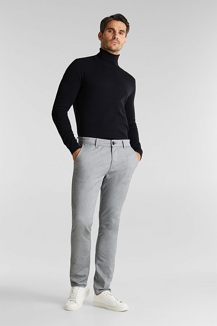 Stretch cotton chinos, LIGHT GREY, detail image number 1
