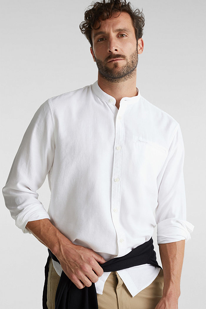 Textured shirt made of 100% organic, WHITE, detail image number 0