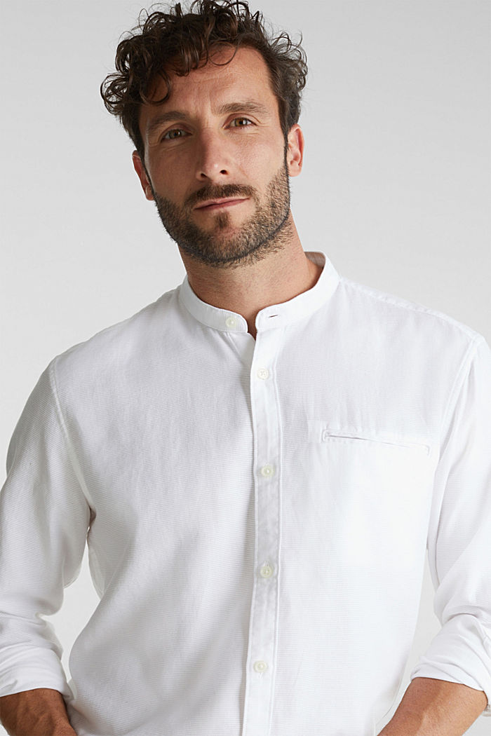 Textured shirt made of 100% organic, WHITE, detail image number 6