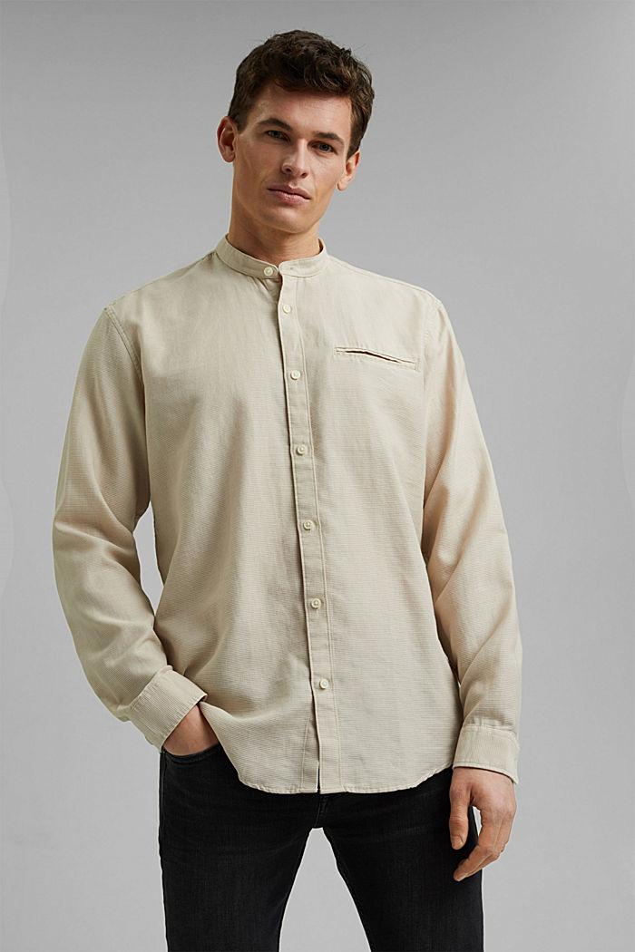 Gestructureerd overhemd van 100% biologisch katoen, LIGHT BEIGE, detail image number 0