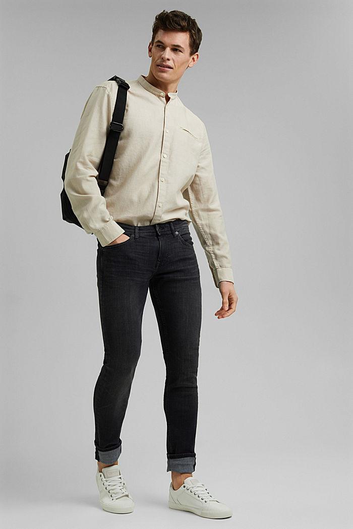 Textured shirt made of 100% organic, LIGHT BEIGE, detail image number 1