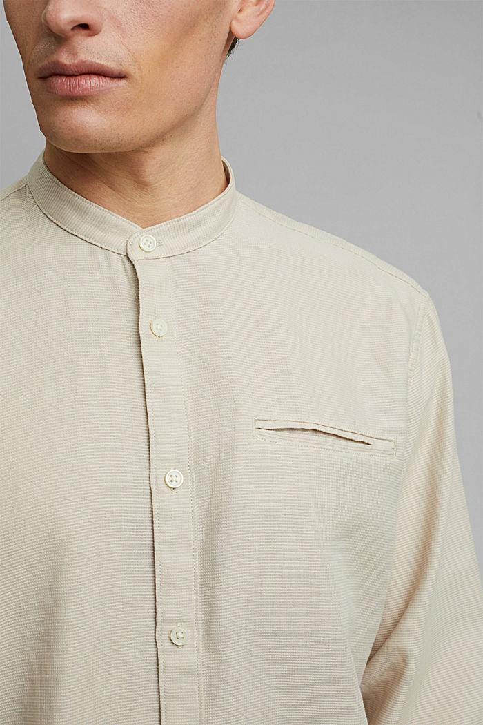 Gestructureerd overhemd van 100% biologisch katoen, LIGHT BEIGE, detail image number 2