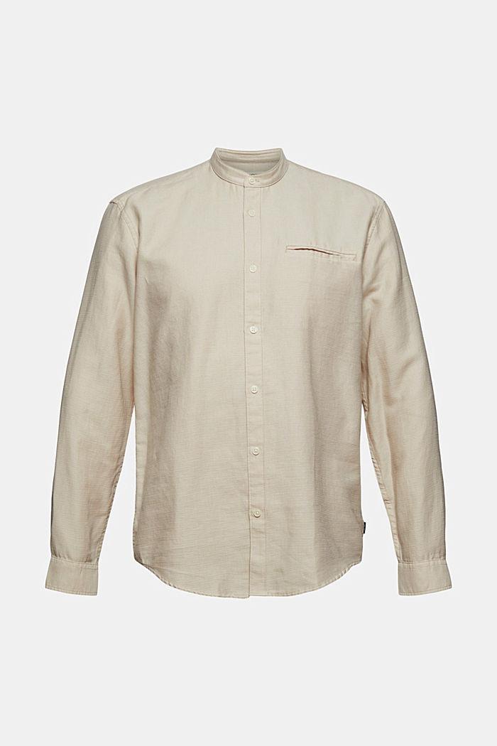 Gestructureerd overhemd van 100% biologisch katoen, LIGHT BEIGE, detail image number 6