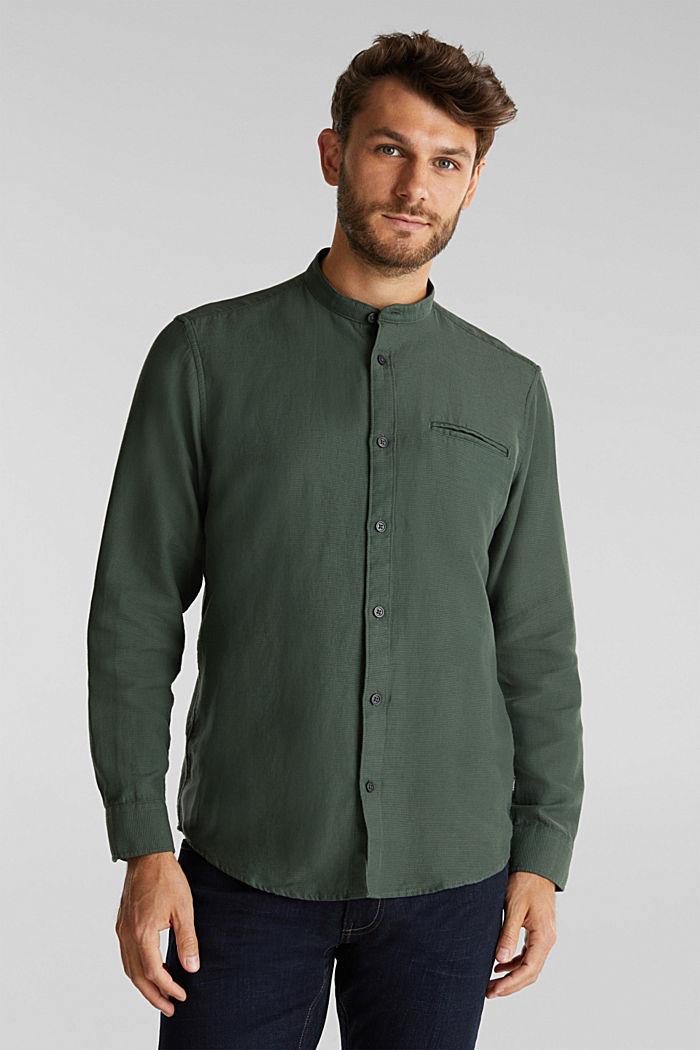 Gestructureerd overhemd van 100% biologisch katoen, DARK KHAKI, detail image number 0