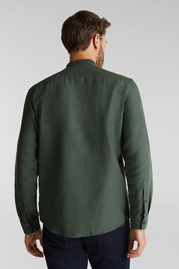 Gestructureerd overhemd van 100% biologisch katoen, DARK KHAKI, detail image number 3