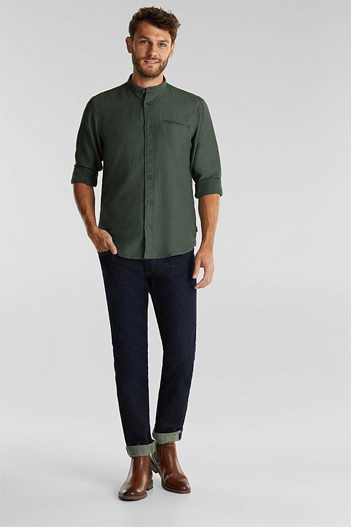 Gestructureerd overhemd van 100% biologisch katoen, DARK KHAKI, detail image number 1