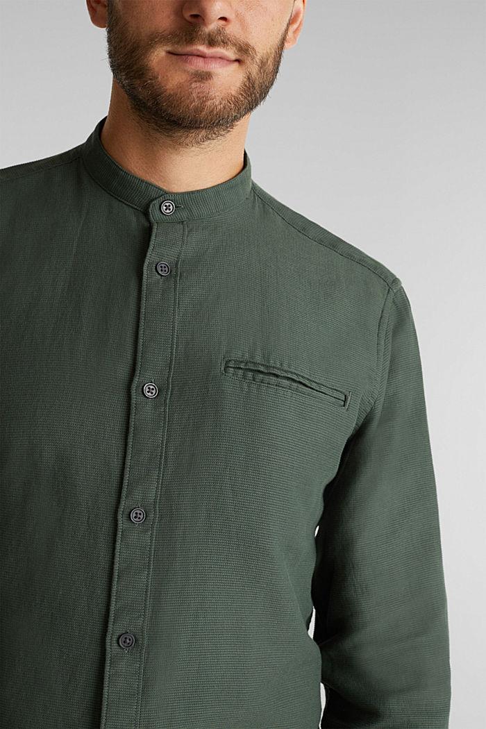 Gestructureerd overhemd van 100% biologisch katoen, DARK KHAKI, detail image number 2
