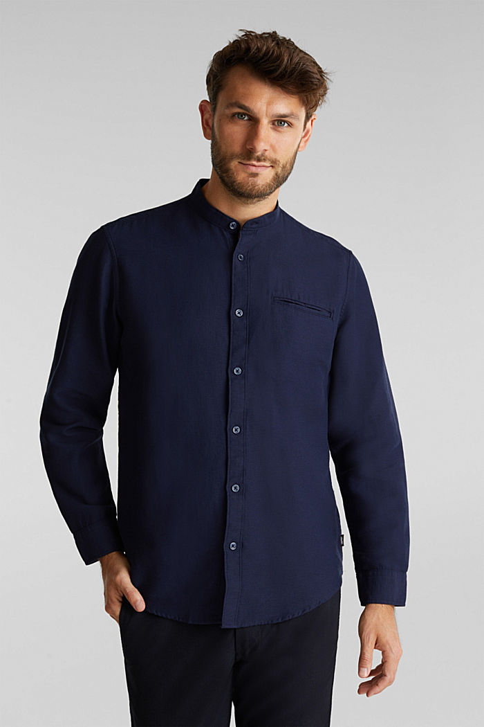 Textured shirt made of 100% organic, NAVY, detail image number 0