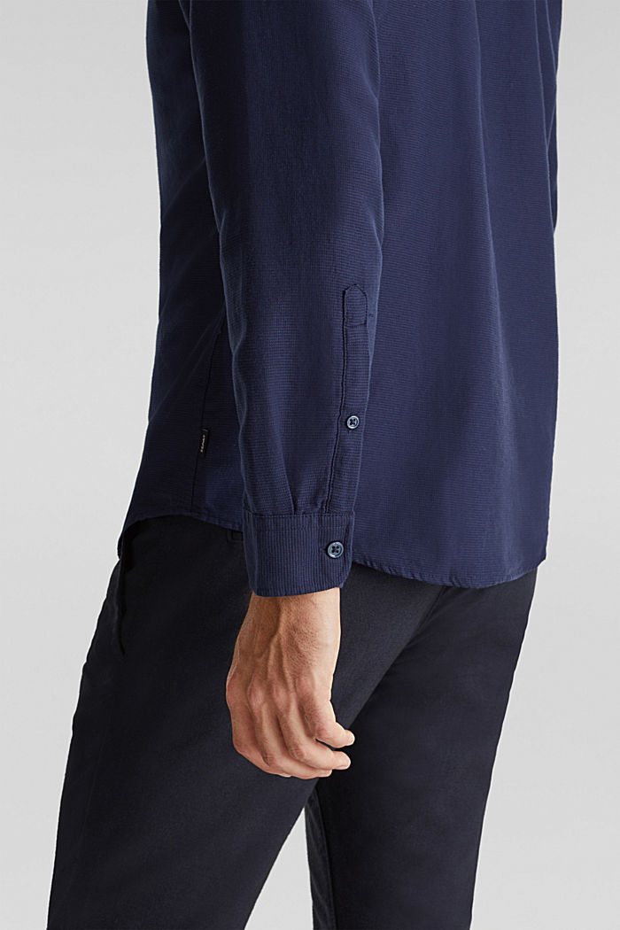 Textured shirt made of 100% organic, NAVY, detail image number 2