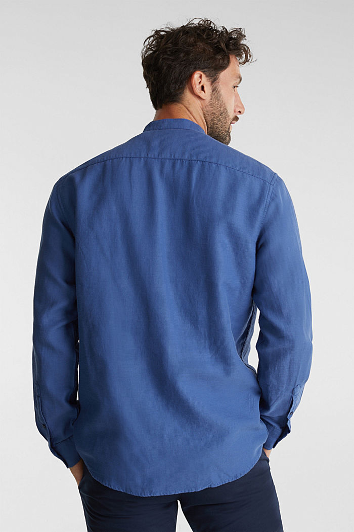 Textured shirt made of 100% organic, GREY BLUE, detail image number 3