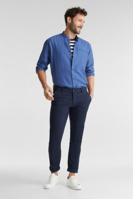 Textured shirt made of 100% organic, GREY BLUE, detail