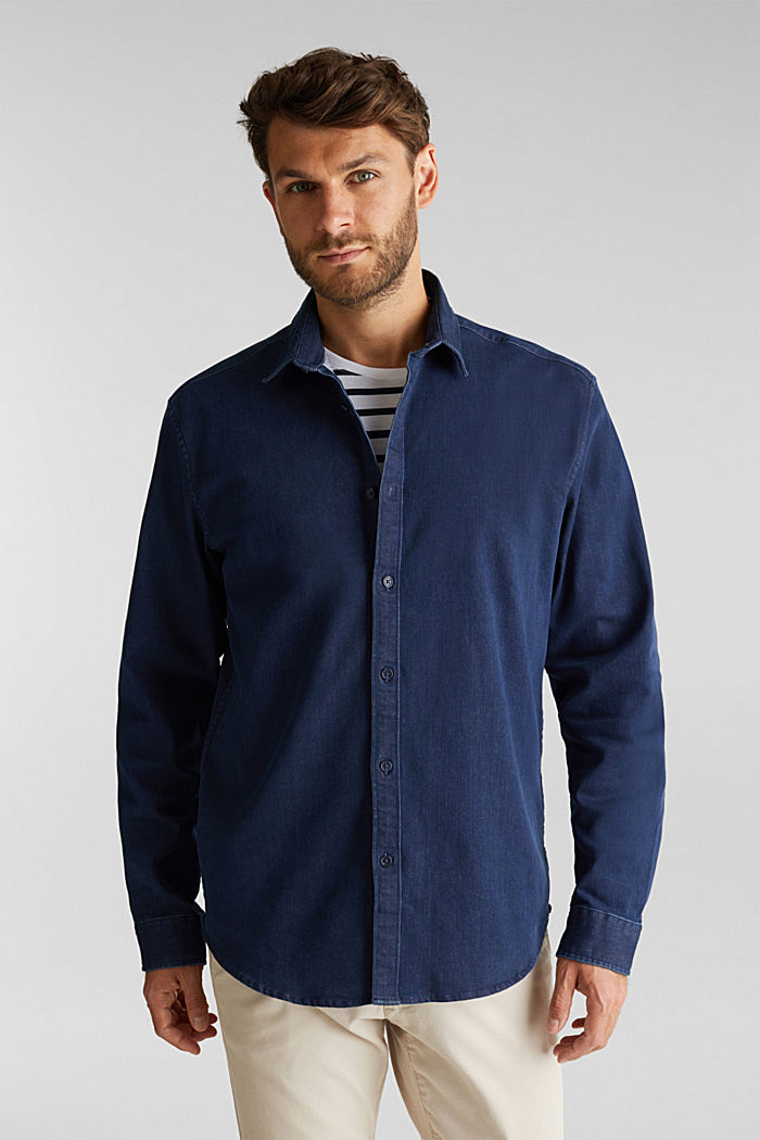 Recycled: denim shirt with organic cotton, BLUE RINSE, detail image number 0