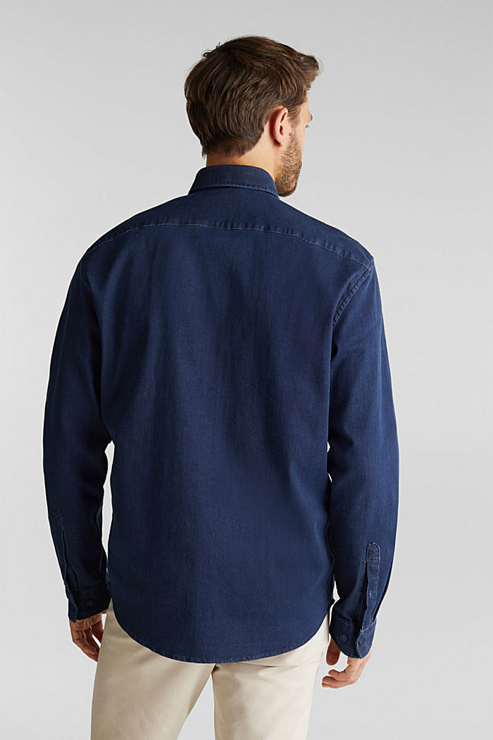 Recycled: denim shirt with organic cotton, BLUE RINSE, detail image number 3