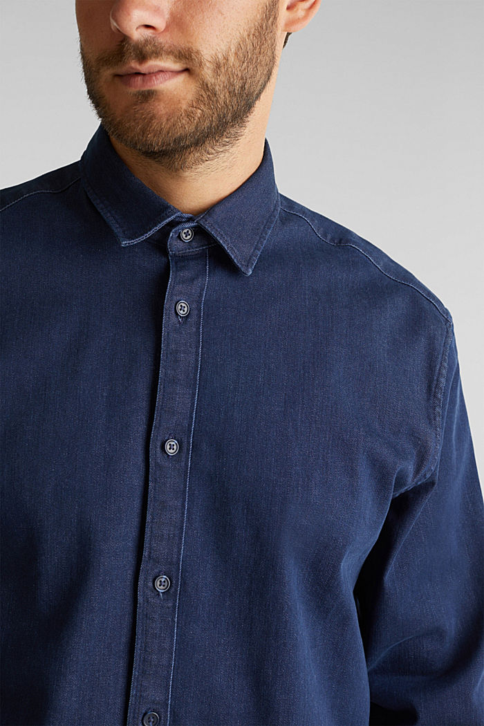 Recycled: denim shirt with organic cotton, BLUE RINSE, detail image number 2