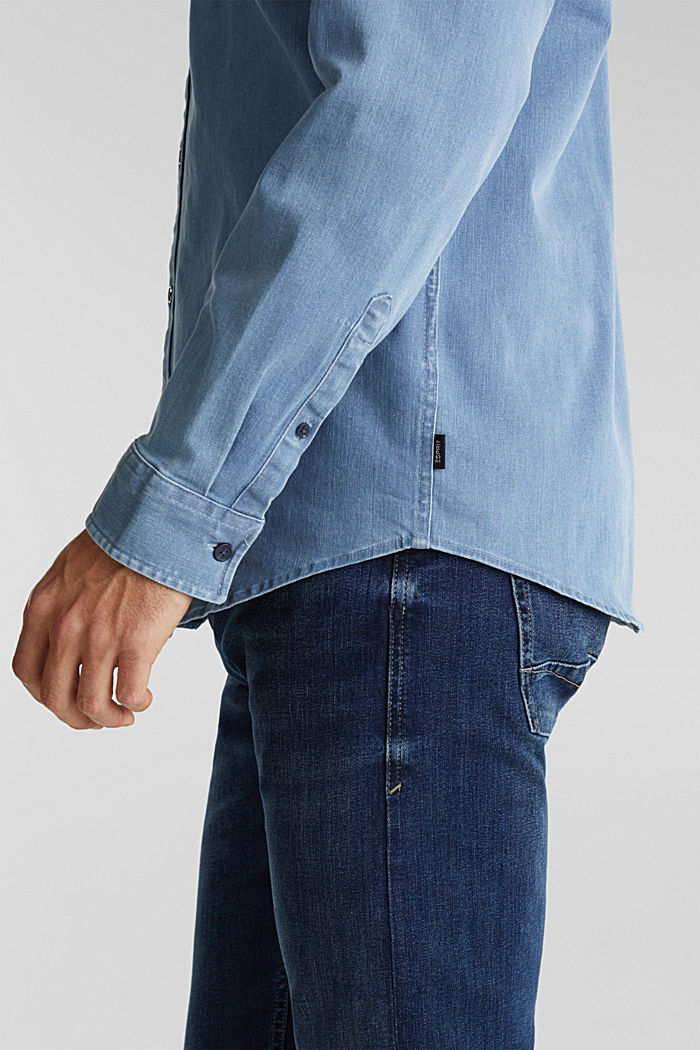 Recycled: denim shirt with organic cotton, BLUE LIGHT WASHED, detail image number 2