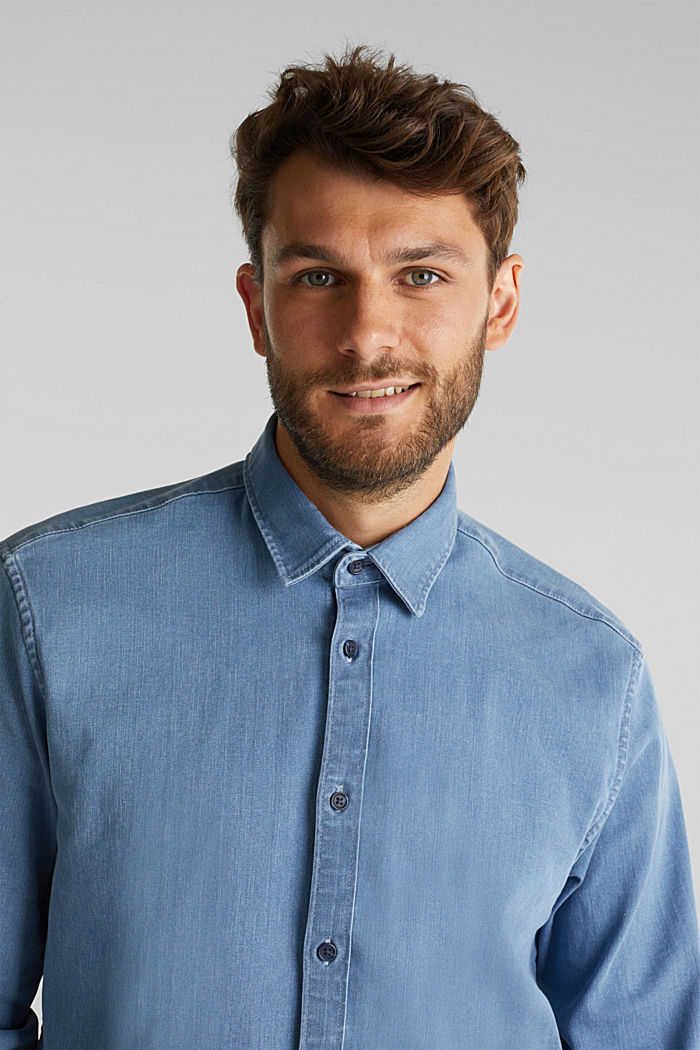 Recycled: denim shirt with organic cotton, BLUE LIGHT WASHED, detail image number 5