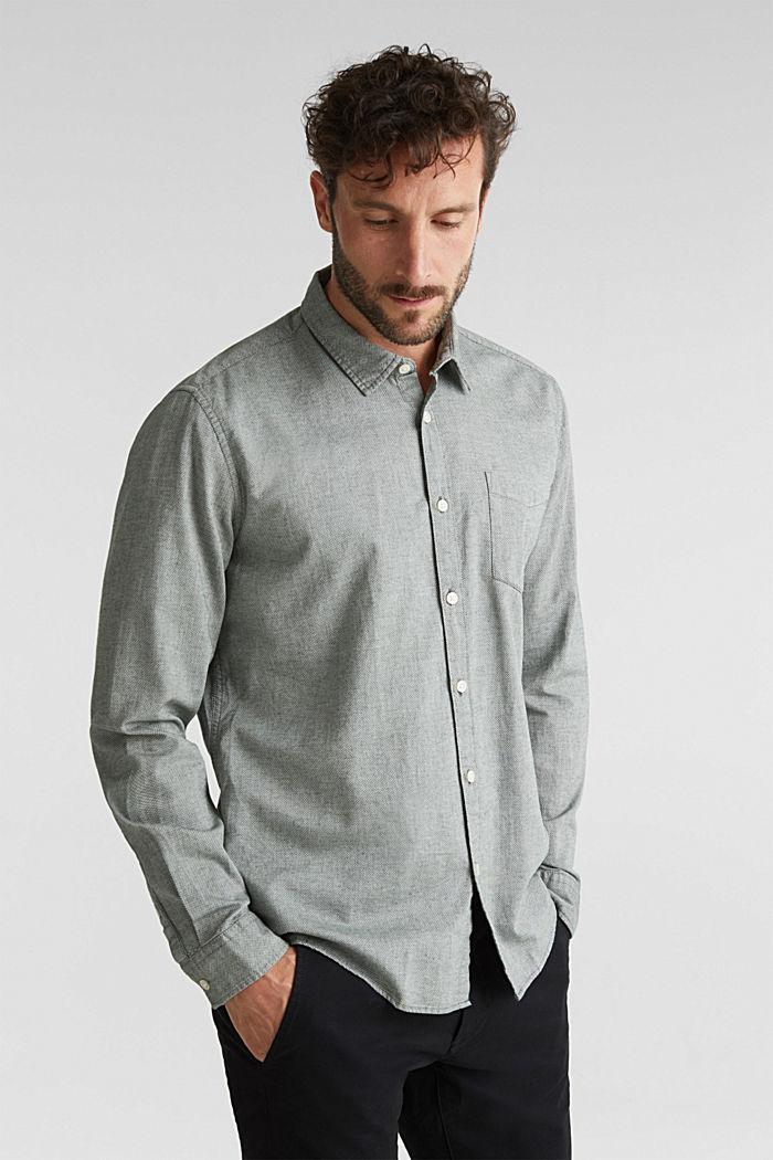 Textured shirt, 100% organic cotton, LIGHT KHAKI, detail image number 0
