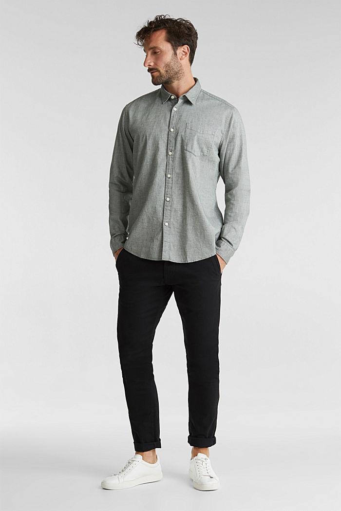 Textured shirt, 100% organic cotton, LIGHT KHAKI, detail image number 5