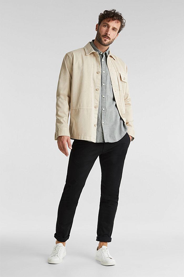 Textured shirt, 100% organic cotton, LIGHT KHAKI, detail image number 1