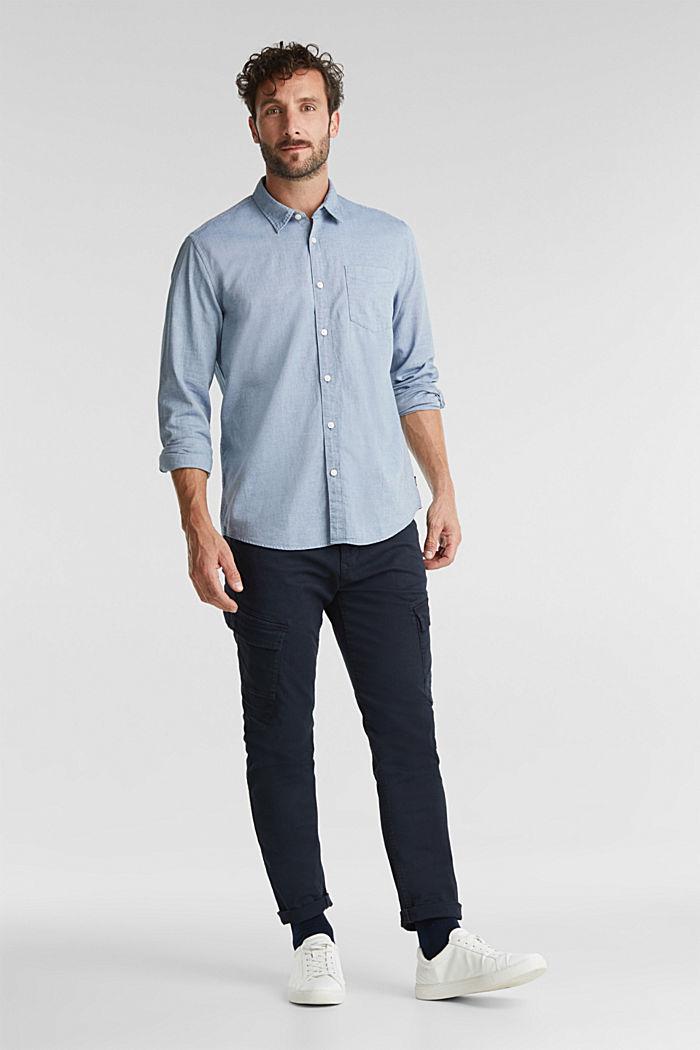 Textured shirt, 100% organic cotton, GREY BLUE, detail image number 1
