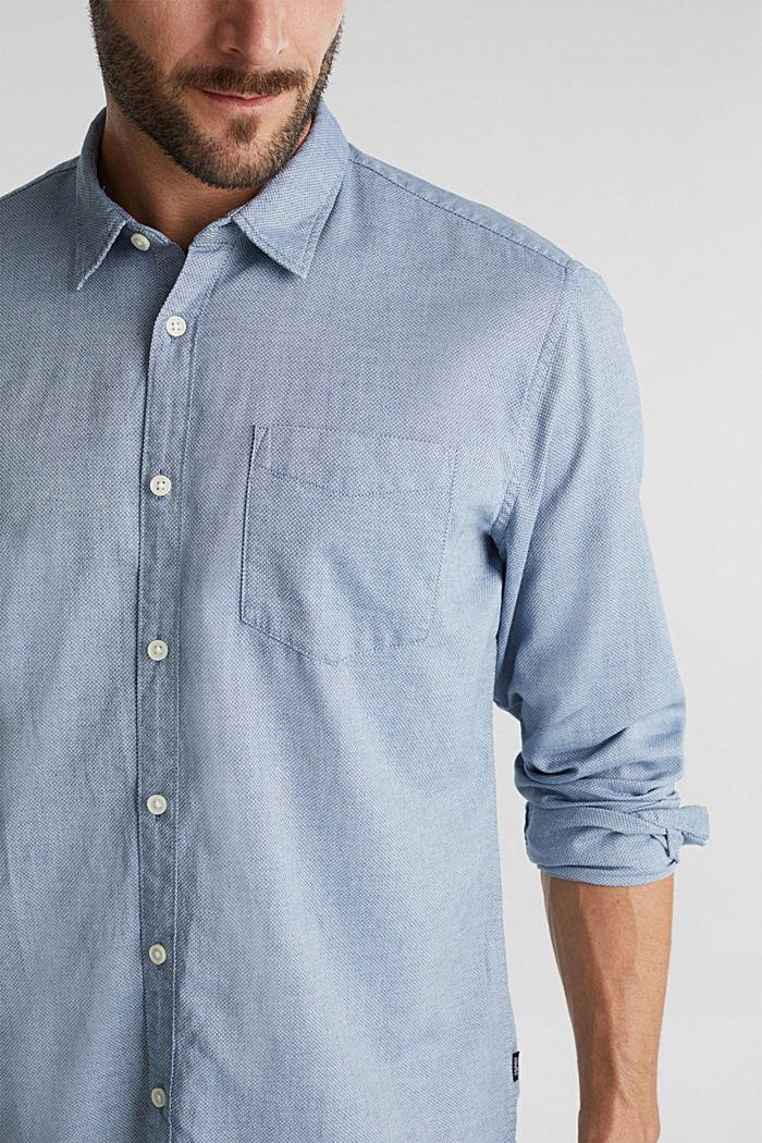 Textured shirt, 100% organic cotton, GREY BLUE, detail image number 2