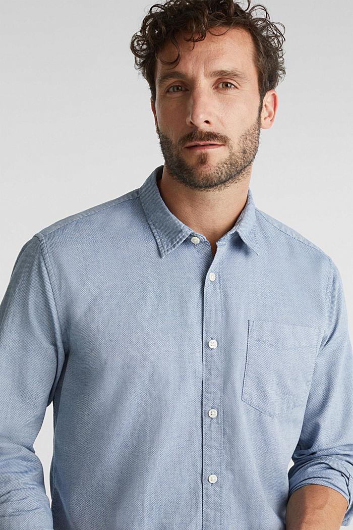 Textured shirt, 100% organic cotton, GREY BLUE, detail image number 5