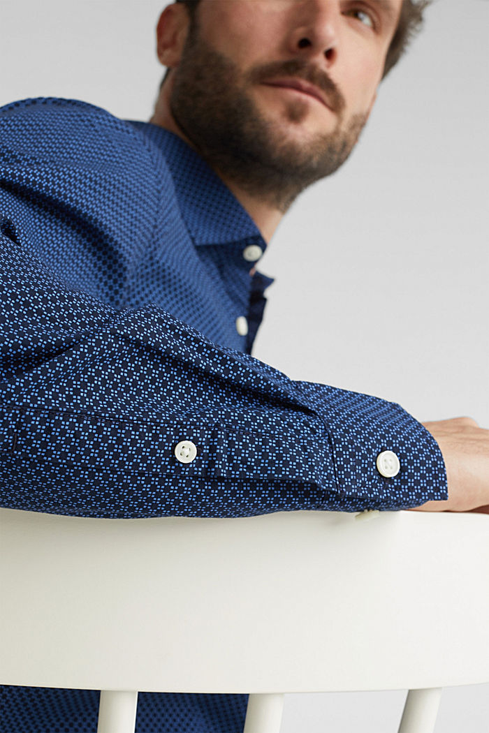 Print-Hemd aus 100% Organic Cotton, NAVY, detail image number 2