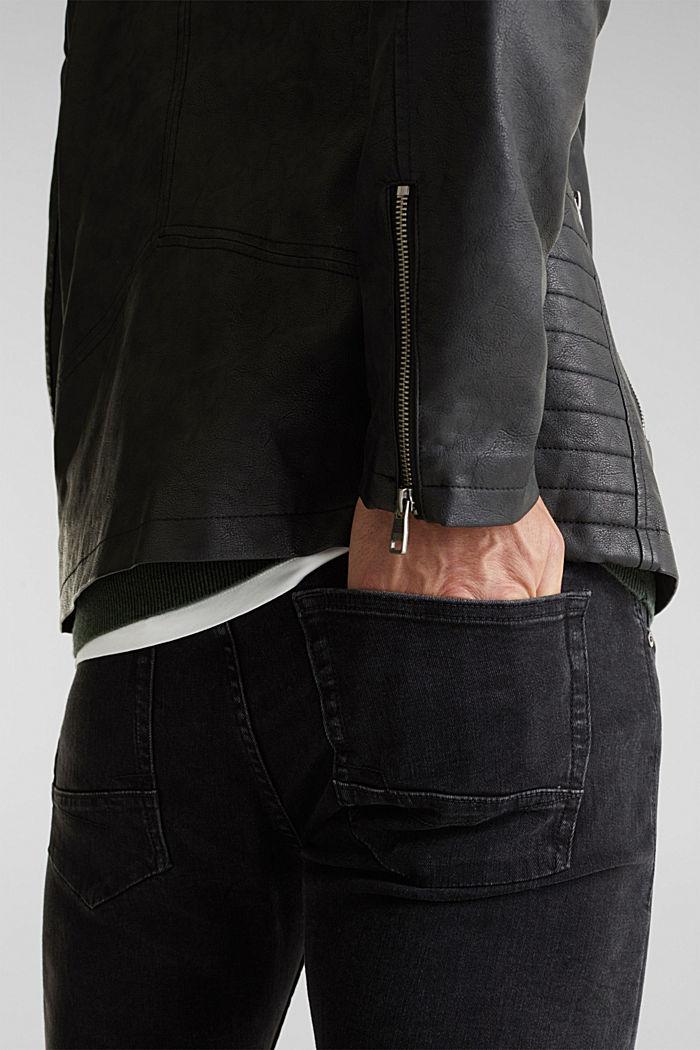 Faux leather biker jacket, BLACK, detail image number 3