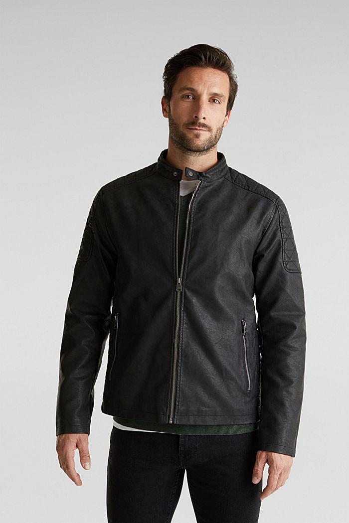 Faux leather biker jacket, BLACK, detail image number 4