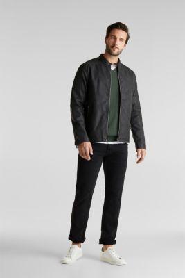 Faux leather biker jacket, BLACK, detail