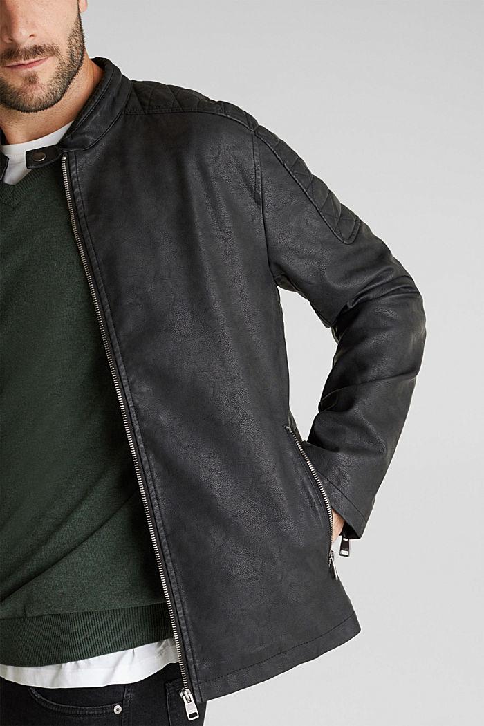 Faux leather biker jacket, BLACK, detail image number 2