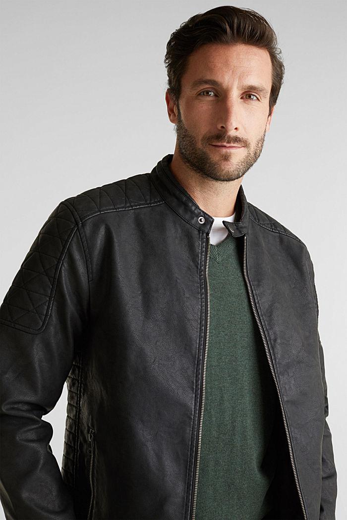 Faux leather biker jacket, BLACK, detail image number 6