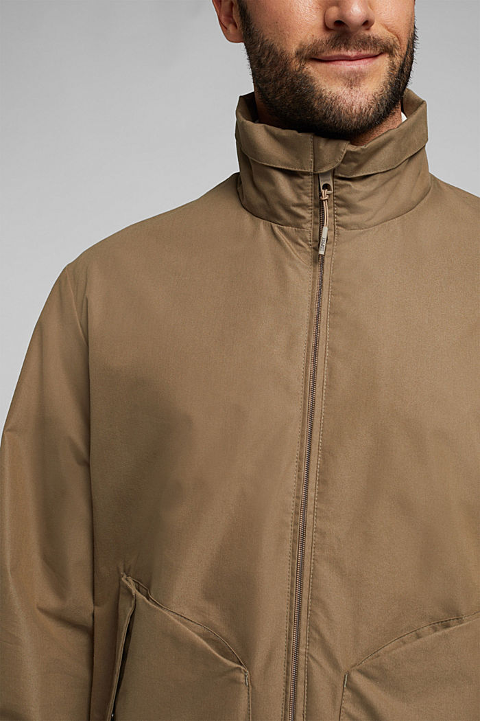 Lightweight outdoor jacket made of blended cotton, BROWN GREY, detail image number 2