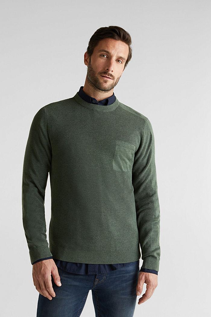 Rib knit jumper made of 100% cotton, LIGHT KHAKI, detail image number 0