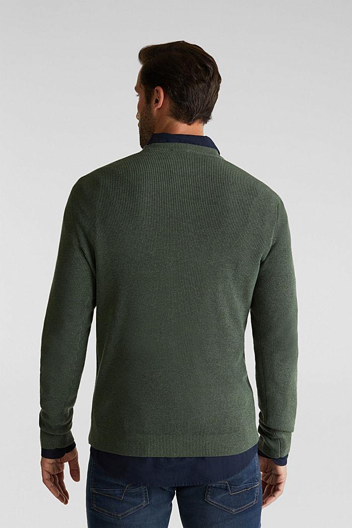 Rib knit jumper made of 100% cotton, LIGHT KHAKI, detail image number 3