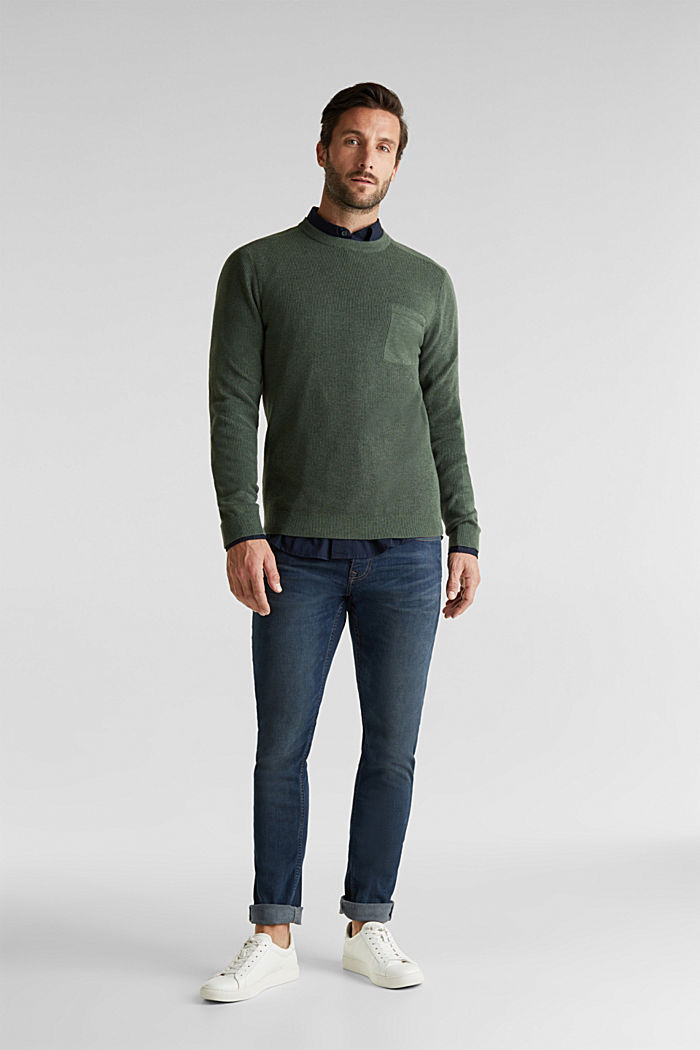 Rib knit jumper made of 100% cotton, LIGHT KHAKI, detail image number 1