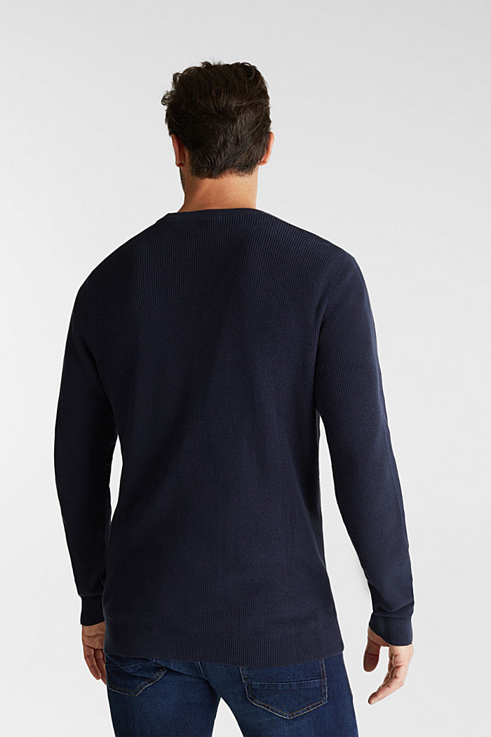 Rib knit jumper made of 100% cotton, NAVY, detail image number 3