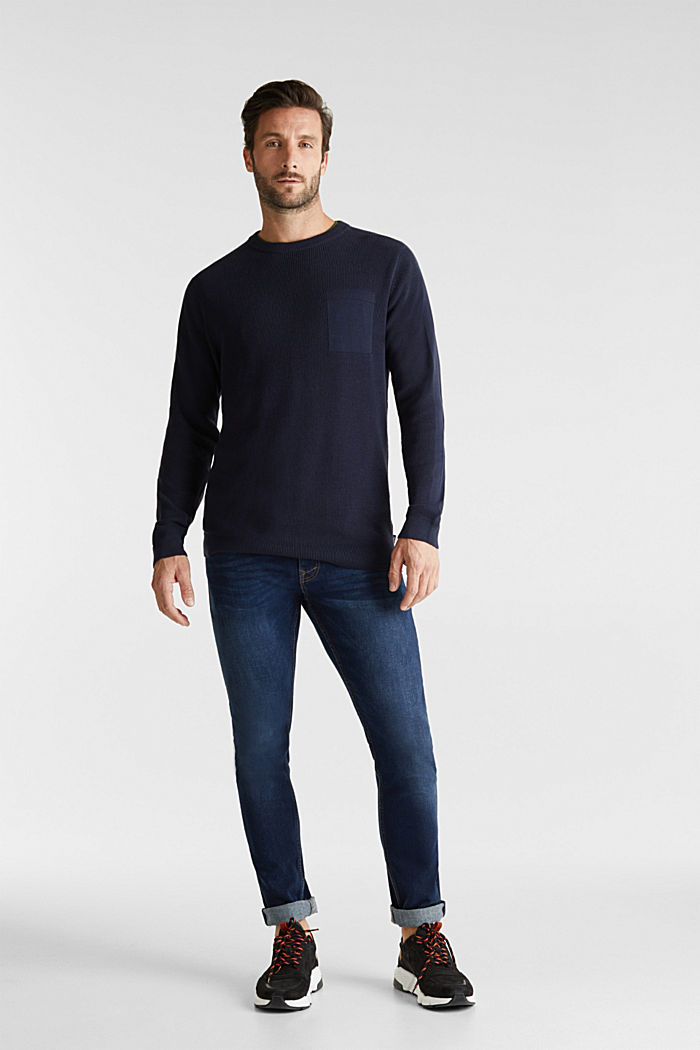 Rib knit jumper made of 100% cotton, NAVY, detail image number 1