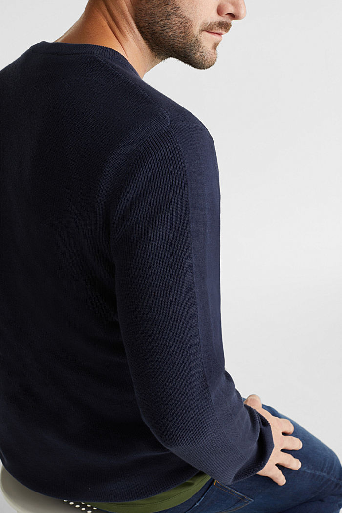 Rib knit jumper made of 100% cotton, NAVY, detail image number 2