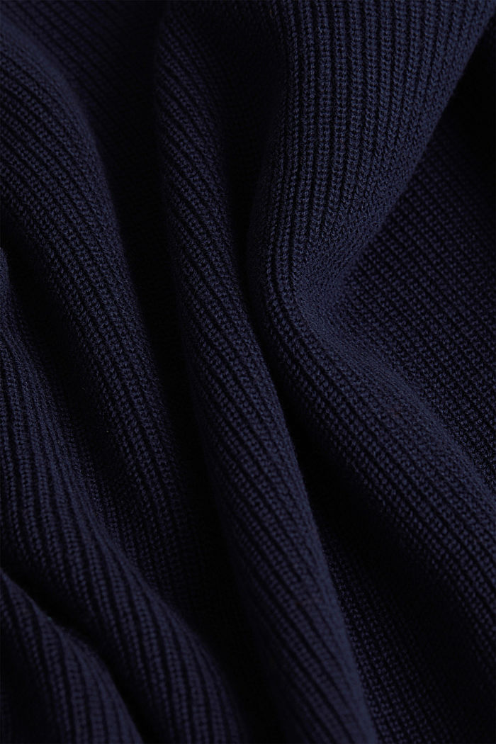 Rib knit jumper made of 100% cotton, NAVY, detail image number 4