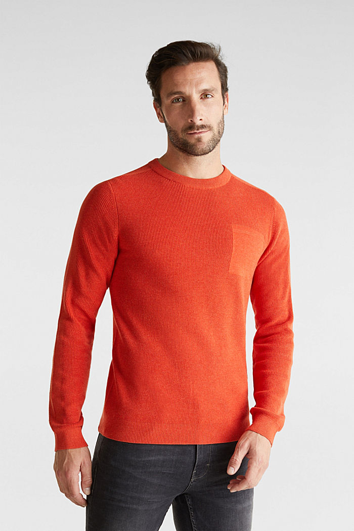Rib knit jumper made of 100% cotton, ORANGE, detail image number 0