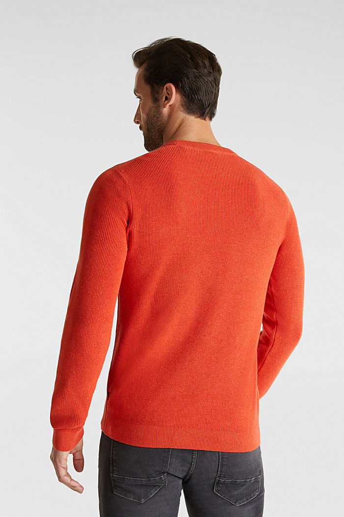 Rib knit jumper made of 100% cotton, ORANGE, detail image number 3
