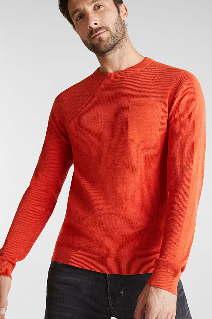 Rib knit jumper made of 100% cotton, ORANGE, detail image number 6