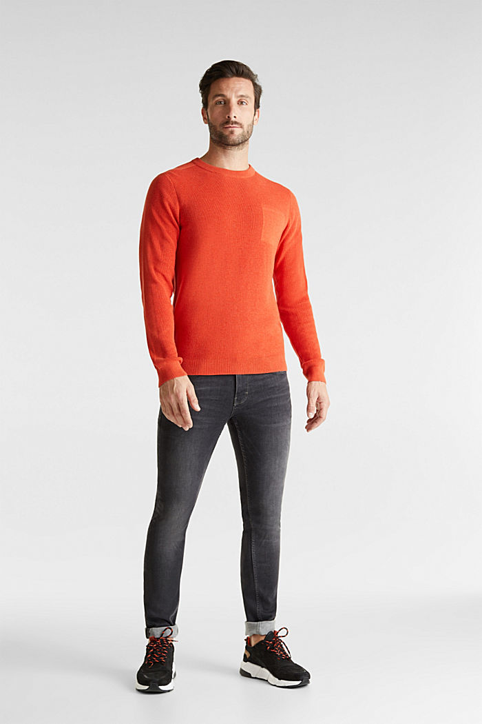 Rib knit jumper made of 100% cotton, ORANGE, detail image number 1