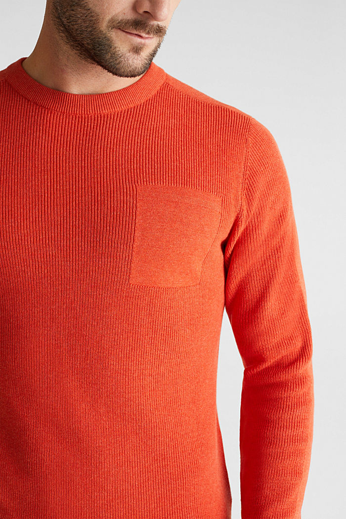 Rib knit jumper made of 100% cotton, ORANGE, detail image number 2