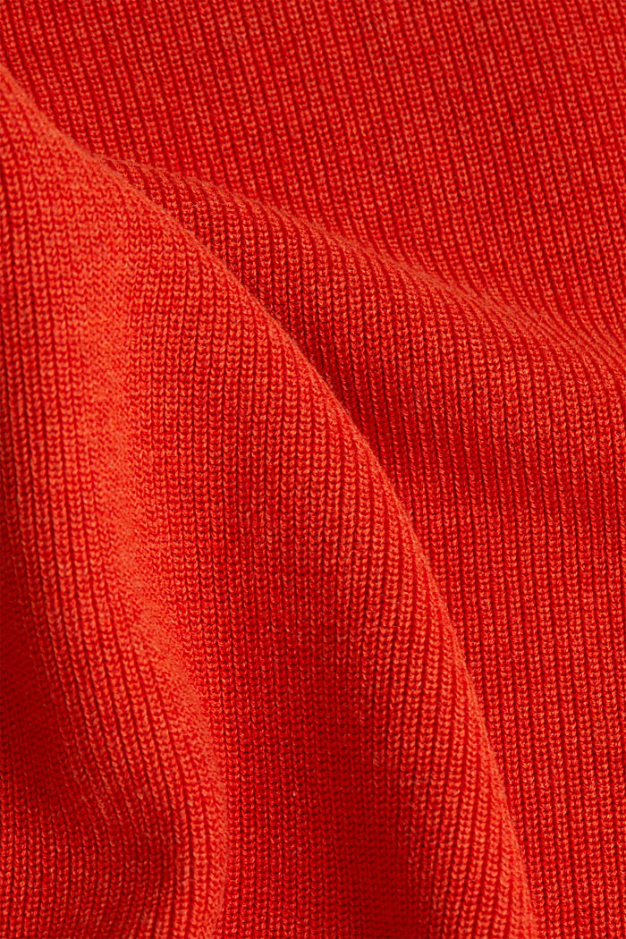 Rib knit jumper made of 100% cotton, ORANGE, detail image number 4