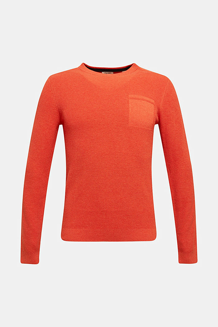 Rib knit jumper made of 100% cotton, ORANGE, detail image number 5