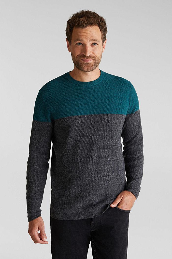 Colour block jumper, organic cotton, BOTTLE GREEN, detail image number 0